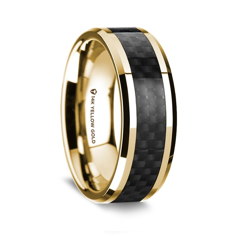 14K Yellow Gold Polished Beveled Edges Wedding Ring with Black Carbon Fiber Inlay - 8 mm