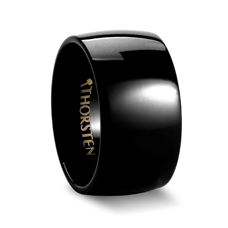 TWILIGHT Black Domed Tungsten Carbide Ring - 12mm