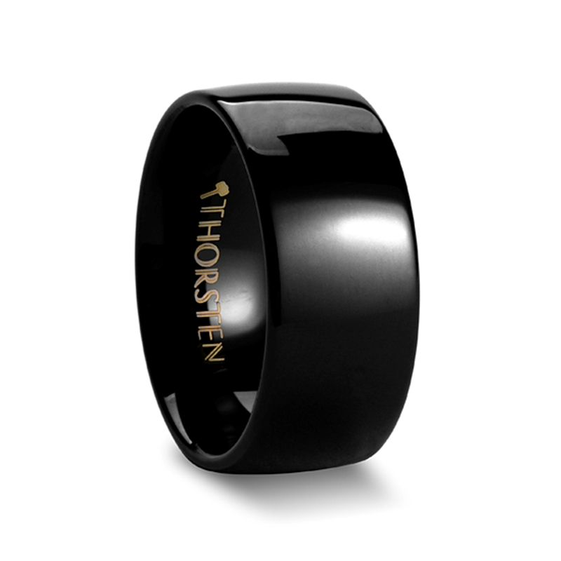 CORVUS Rounded Black Tungsten Carbide Ring - 10mm