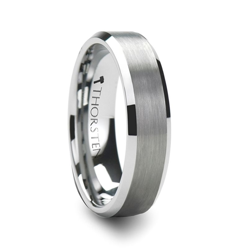 SYLVIA Brushed Tungsten Carbide Ring with Beveled Edges - 4mm & 6mm