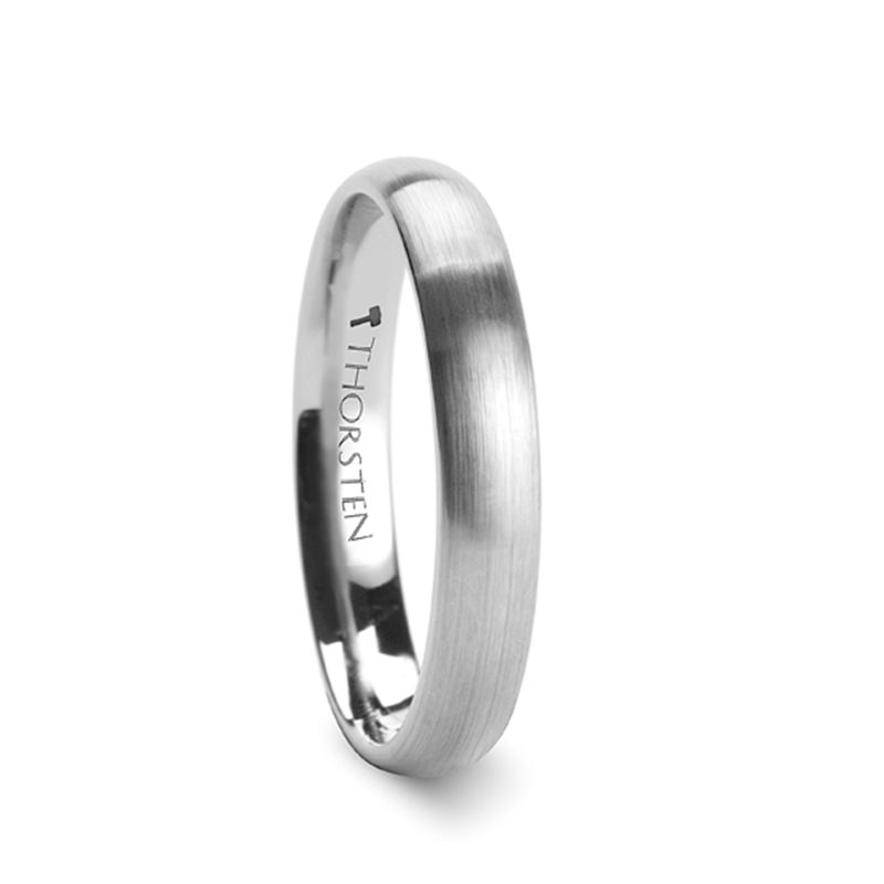 PETRA Rounded Tungsten Carbide Ring with Brushed Finish - 4mm & 6mm