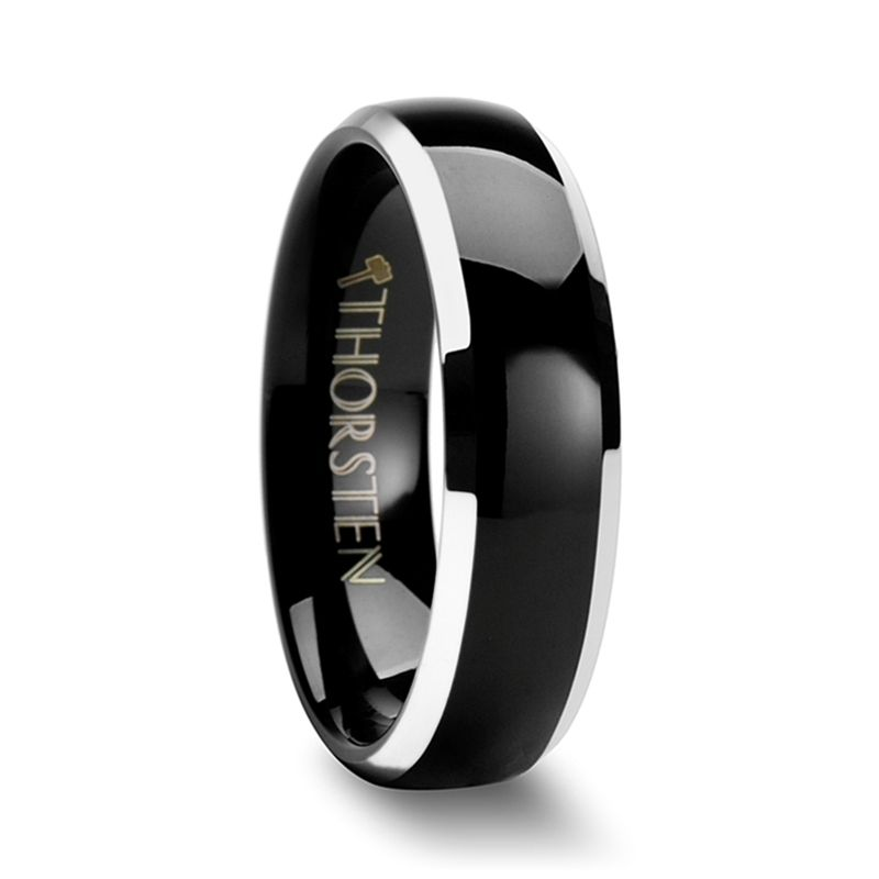 ESPRIT Black Domed Tungsten Carbide Ring with Polished Beveled Edges - 4mm & 6mm