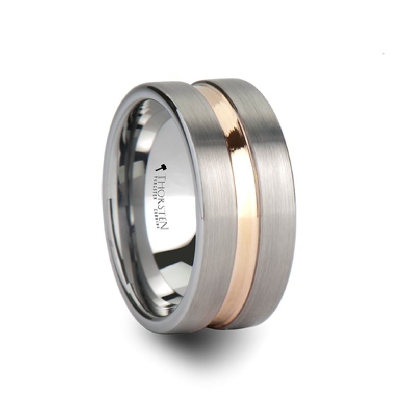ZENITH Pipe Cut Brushed Finish Tungsten Carbide Ring with Rose Gold Channel - 10mm
