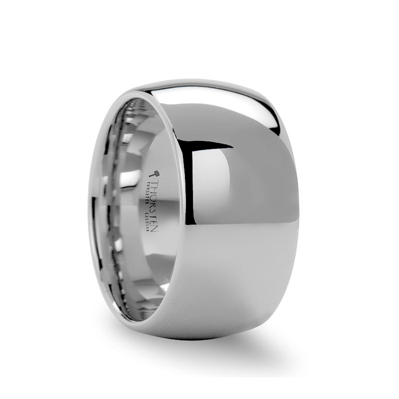 ATHERTON Domed White Tungsten Carbide Ring - 12mm
