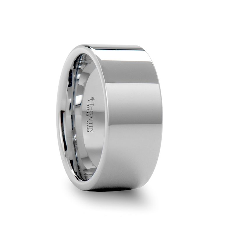 SHELTON Pipe Cut White Tungsten Carbide Ring with Polished Finish - 10mm