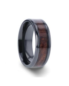 CERISE Redwood Inlaid Black Ceramic Ring with Beveled Edges - 8mm