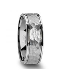 THORNTON Hammered Finish Center White Tungsten Carbide Wedding Band with Dual Offset Grooves and Polished Edges - 6mm or 8mm
