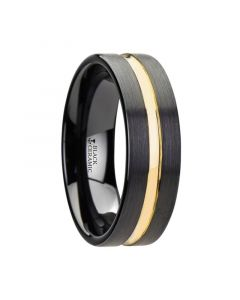 VIVALDI Black Ceramic Wedding Band With Yellow Gold Groove - 6mm - 8mm
