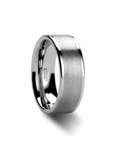 AIRES Flat Brush Finish Center Tungsten Carbide Ring -  10mm