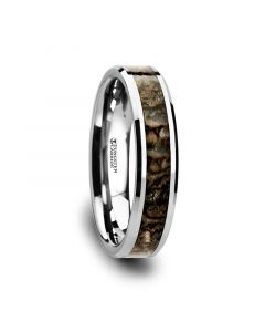 ORDOVICIAN Dinosaur Bone Inlaid Tungsten Carbide Beveled Edged Ring - 4mm