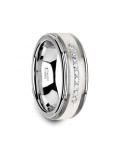 HARPER Tungsten Wedding Band with Raised Center & Brushed Silver Inlay and 9 Channel Set White Diamonds - 8mm
