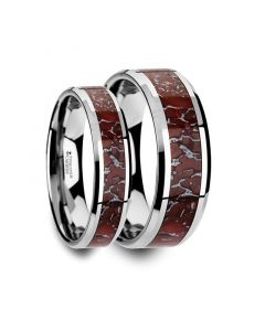 Matching Ring Set Red Dinosaur Bone Inlaid Tungsten Carbide Beveled Edged Ring - 4mm & 8mm