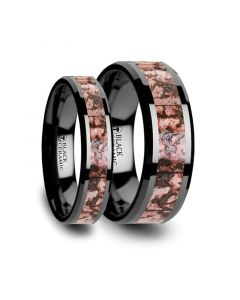 CAMBRIAN Matching Ring Set Pink Dinosaur Bone Inlaid Black Ceramic Beveled Edged Ring - 4mm & 8mm