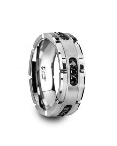 VALOR Grooved Tungsten Ring with Silver Inlay & Black Diamonds - 8mm