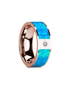 GAIOS Flat 14K Rose Gold with Blue Opal Inlay & White Diamond Setting - 8mm