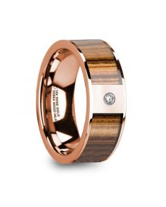 GLAUCUS Flat 14K Rose Gold with Zebra Wood Inlay & White Diamond Setting - 8mm