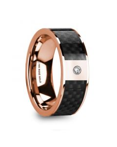 HERMEROS Black Carbon Fiber Inlaid 14k Rose Gold Polished Ring with Diamond Accent - 8mm
