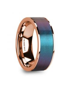 LOUKAS Blue & Purple Color Changing Inlaid Polished 14k Rose Gold Men's Wedding Ring - 8mm