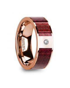 ORESTES Men's Polished 14k Rose Gold Wedding Band with Purpleheart Wood Inlay & Diamond - 8mm