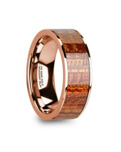 OLYMPIAS 14k Rose Gold & Mahogany Wood Inlaid Men's Wedding Band with Polished Finish - 8mm