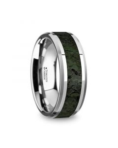 TYRION Mens Tungsten Wedding Band with Dark Green Dinosaur Bone Inlay & Beveled Edges - 8mm