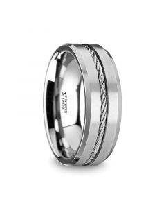 LANNISTER Men's Tungsten Flat Wedding Band with Steel Wire Cable Inlay & Beveled Edges - 8mm
