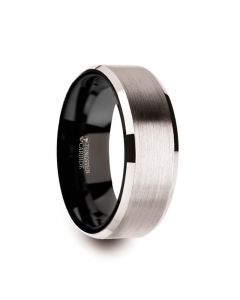 VEGA White Tungsten Brushed Center Men's Wedding Ring with Polished Beveled Edges & Black Interior - 8mm