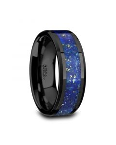 MARLOW Men's Polished Black Ceramic Wedding Band with Blue Lapis Inlay & Beveled Edges - 8mm