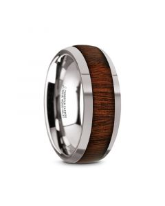 DALBERG Tungsten Carbide Rosewood Inlay Polished Finish Men's Domed Wedding Ring - 8mm
