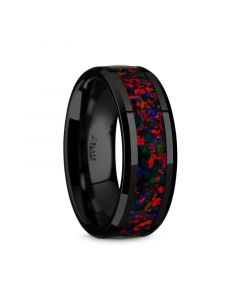 MATRIX Black Ceramic Polished Beveled Edges Men's Wedding Band with Black Opal Inlay - 8mm