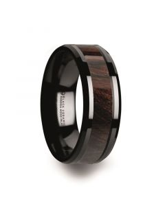 BENNY Black Ceramic Polished Beveled Edges Men's Wedding Band with Bubinga Wood Inlay - 8mm
