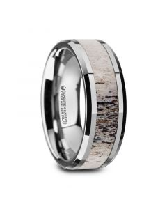 BUCK Polished Beveled Tungsten Carbide Men's Wedding Band with Ombre Deer Antler Inlay - 6mm 8mm