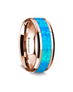 14K Rose Gold Polished Beveled Edges Wedding Ring with Blue Opal Inlay - 8 mm