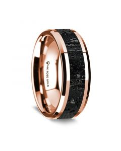 14K Rose Gold Polished Beveled Edges Wedding Ring with Lava Inlay - 8 mm