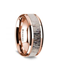 14K Rose Gold Polished Beveled Edges Wedding Ring with Ombre Deer Antler Inlay - 8 mm