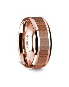 14K Rose Gold Polished Beveled Edges Wedding Ring with Sapele Inlay - 8 mm