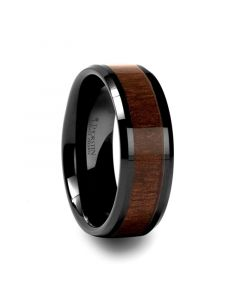 YUKON Beveled Black Ceramic Ring with Black Walnut Wood Inlay - 4mm - 12mm