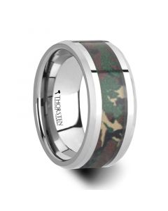 COMMANDO Tungsten Wedding Ring with Military Style Jungle Camouflage Inlay - 6mm - 10 mm