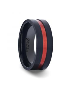 BLAZE Flat Brushed Black Titanium Men's Wedding Band With Red Aluminum Groove Brushed Center - 8mm