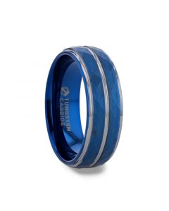 CARMEL Blue Ion Plated Tungsten Carbide Men's Ring With Faceted Center And Stepped Edges - 8mm