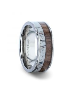 DARBY Titanium Polished Finish Flat Men's Wedding Ring With Deer Antler And Black Walnut Wood Inlay - 8mm