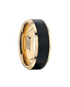GASTON Gold Plated Tungsten Polished Beveled Ring with Brushed Black Center - 6mm 8mm