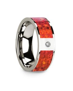 Red Opal Inlaid Polished 14k White Gold Men's Wedding Ring with Diamond Accent - 8mm