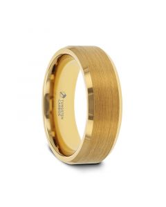 HONOR Gold-Plated Tungsten Beveled Polished Edges Flat Ring with Brushed Center - 6mm & 8mm