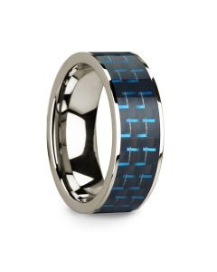 Polished 14k White Gold & Black/Blue Carbon Fiber Inlaid Flat Wedding Ring - 8mm