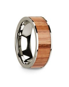 Polished Flat 14k White Gold Men's Wedding Ring with Red Oak Wood Inlay - 8mm