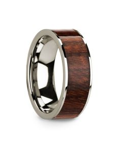 Polished 14k White Gold Men's Wedding Ring with Carpathian Wood Inlay - 8mm