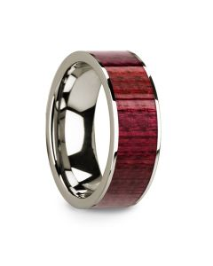 Purpleheart Inlaid 14k White Gold Men's Wedding Band with Polished Finish - 8mm