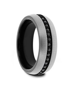 PILOT Gunmetal Tungsten Ring with Black Sapphires - 8mm