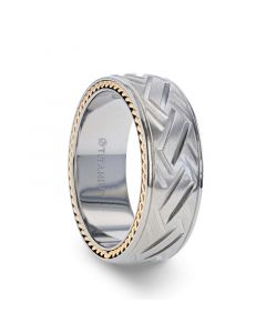 SATURN Woven Pattern Domed Titanium Men's Wedding Ring With Yellow Gold Braided Edges - 8mm